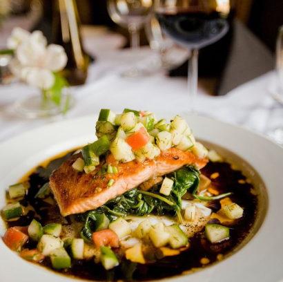 Plated salmon dinner