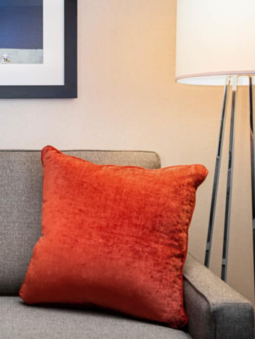 Couch with pillow and lamp