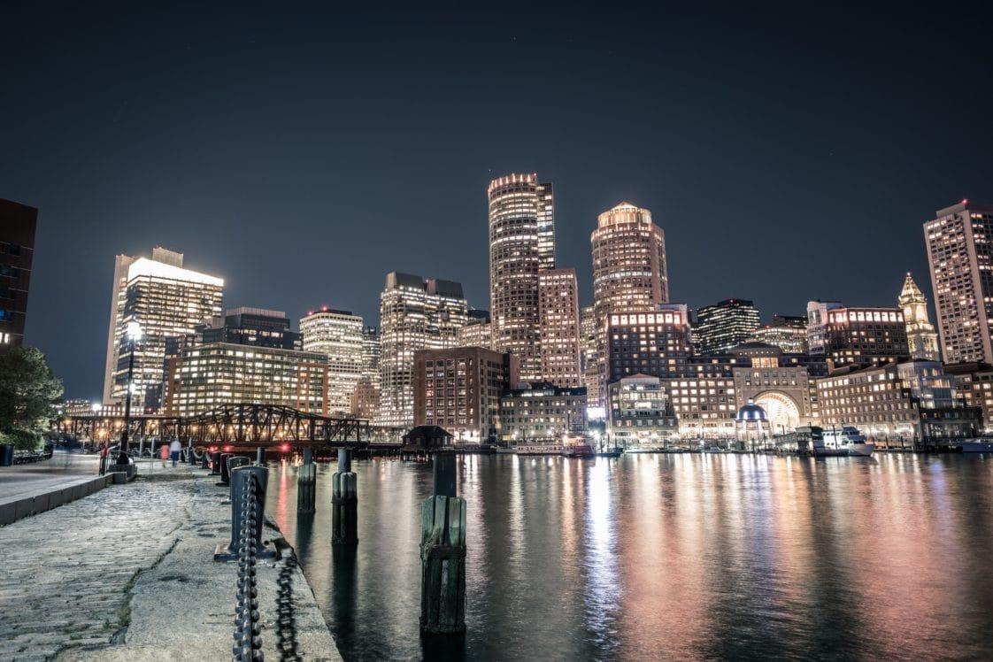 Boston Seaport Night View